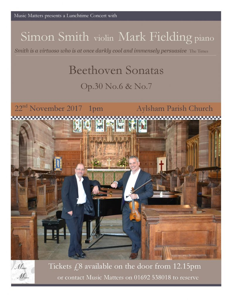 poster with concert details Event 22nd Nov with Simon Smith